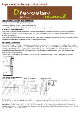 Popis montáže plastových oken a dveří