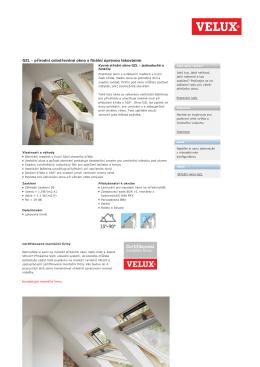Stresni okno GZL Velux produktovy list