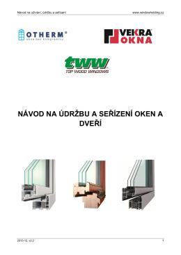 Návod na údržbu a seřízení oken a dveří