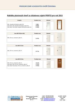 Nabídka plastových dveří se skladovou výplní PERITO pro rok 2015
