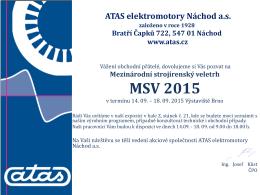 Pozvánka na MSV 2015 - ATAS elektromotory Náchod as