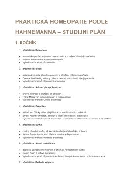 studijní plán - studujtehomeopatii.cz
