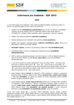 Informace pro žadatele SZP 2015 SAPS, Greening
