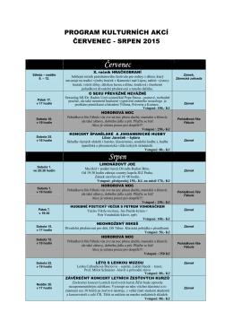 Kulturní kalendář - červenec-srpen 2015