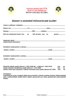 Žádost o zavedení pečovatelské služby - ADP