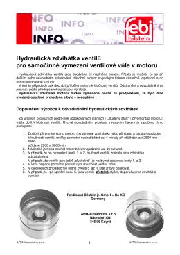 Hydraulická zdvihátka ventilu