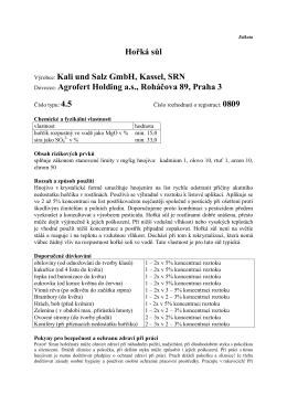 Hořká sůl Vðrobce: Kali und Salz GmbH, Kassel, SRN Dovozce