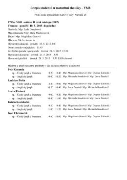 Rozpis studentů u maturitní zkoušky - V8.B