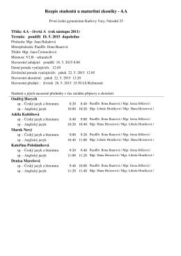 Rozpis studentů u maturitní zkoušky - 4.A