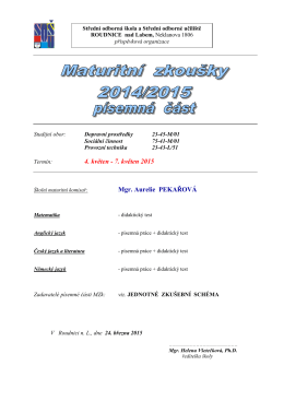rozpis maturitních zkoušek 2014/2015