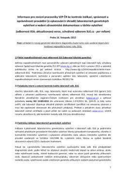 Informace pro revizní pracovníky VZP ČR ke kontrole indikací