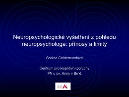 přínosy a limitace: Sabina Goldemundová