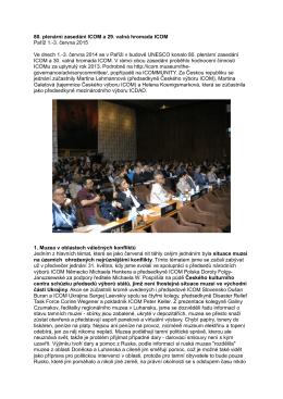 80. plenární zasedání Poradního výboru ICOM a 30. valná hromada