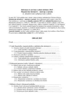 Informace k novému vydání učebnice 2015 Manažerské účetnictví
