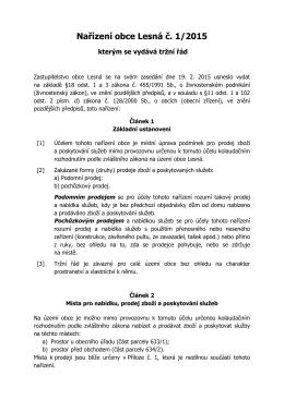 Nařízení obce Lesná 1/2015 – Tržní řád
