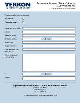 Reklamační formulář / Pozáruční servis Příjem reklamovaného zboží