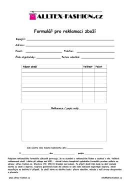 Formulář pro reklamaci zboží - Alltex