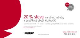 20 % sleva na obuv, kabelky a doplňkové zboží HUMANIC