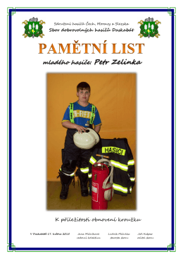 mladého hasiče: Petr Zelinka