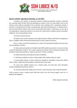 Zpráva velitele výjezdové jednotky za rok 2015