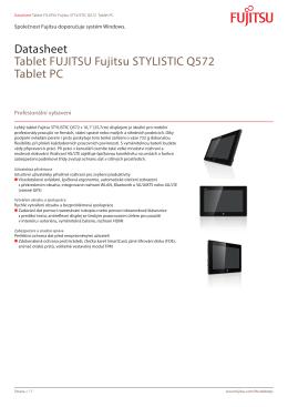 Datasheet Tablet FUJITSU Fujitsu STYLISTIC Q572 Tablet PC