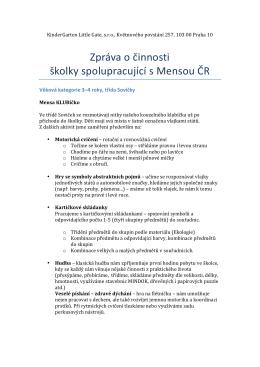 Zpráva o činnosti školky spolupracující s Mensou ČR