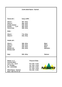 Černé uhl í: Ceny s DPH Ořech I 420,- Kč/q Ořech II 420,
