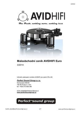 Maloobchodní ceník AVIDHIFI Euro - Web