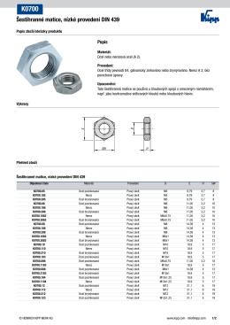 Datový list K0700 Šestihranné matice, nízké provedení DIN 439