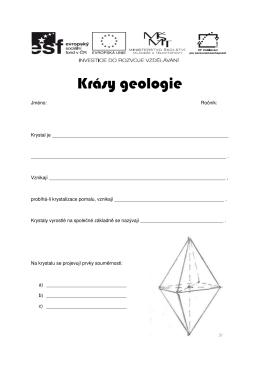 Krásy geologie – pracovní list