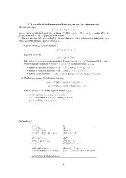 LDR druhého rádu s konstantnımi koeficienty se speciálnı pravou