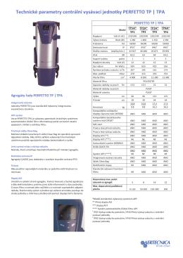 Technické parametry centrální vysávací jednotky PERFETTO TP | TPA