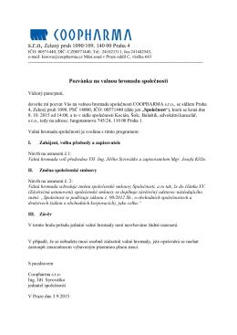 s.r.o, Zelený pruh 1090/109, 140 00 Praha 4 Pozvánka