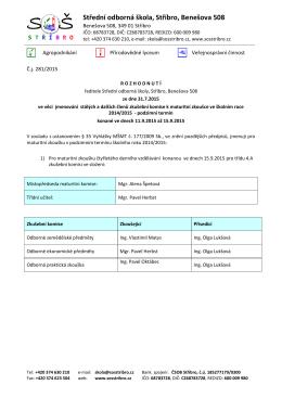 Maturitní komise podzim 2015 - Střední odborná škola Stříbro