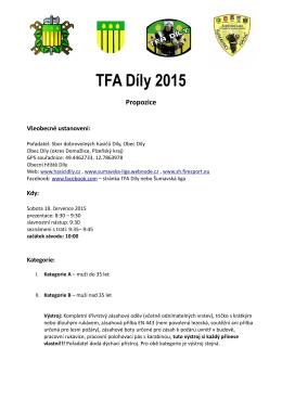 Propozice - TFA Díly 2015