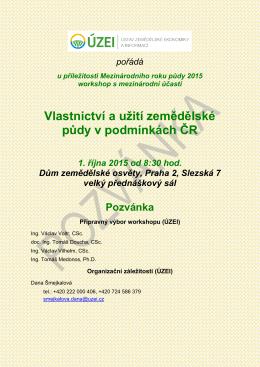 Vlastnictví a užití zemědělské půdy v podmínkách ČR