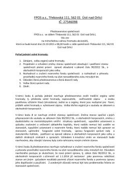 Valná hromada FPOS a.s. 23.10.2015