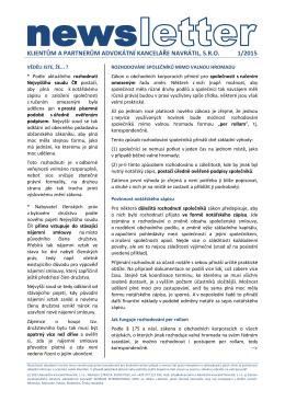 Newsletter 1-2015 - Advokátní kancelář Navrátil, sro