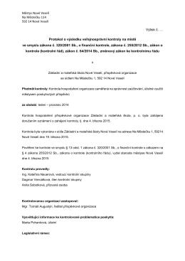 Protokol o výsledku veřejnosprávní kontroly na