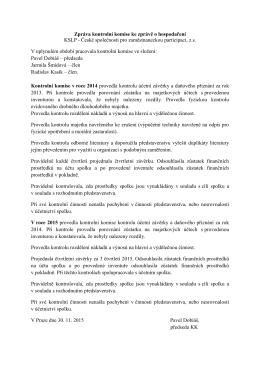 Zpráva kontrolní komise ke zprávě o hospodaření KSLP