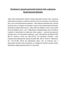 úprava povinných kontrol vrhů u plemena ruská barevná bolonka
