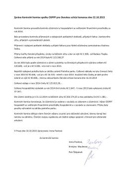 Zpráva Kontrolní komise spolku OSPPP pro členskou schůzi