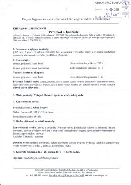 Protokol o kontrole pitné vody z KHS