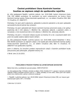 Čestné prohlášení člena Kontrolní komise Souhlas se zápisem