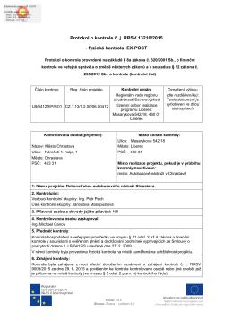 Protokol o kontrole č. j. RRSV 13210/2015 - fyzická