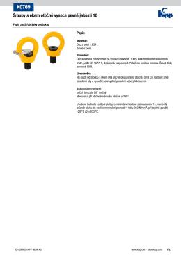 Datový list K0769 Šrouby s okem otočné vysoce pevné jakosti 10