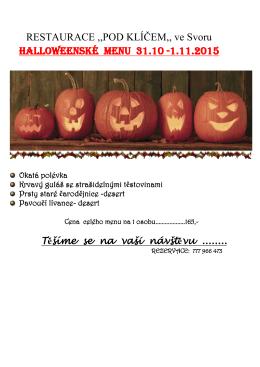 RESTAURACE ,,POD KLÍČEM,, ve Svoru Halloweenské menu 31.10