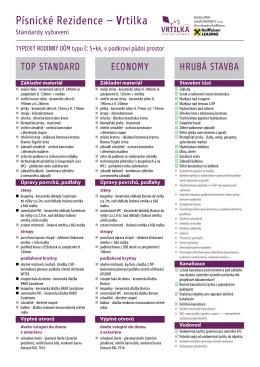 porovnání variant Top standard, Economy a Hrubá stavba