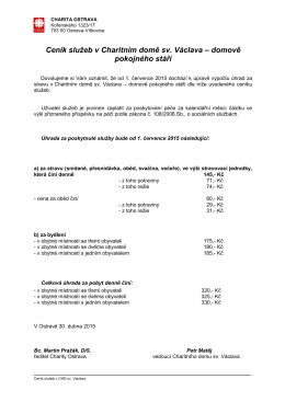Ceník služeb v Charitním domě sv. Václava