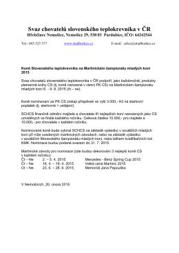 Podrobné informace SCHCS - Svaz chovatelů Slovenského